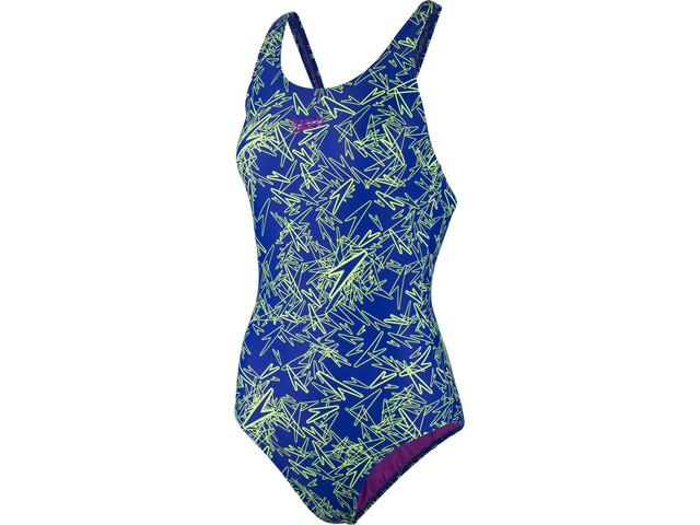 speedo Boom Allover Muscleback Traje de Baño Mujer, blue/green